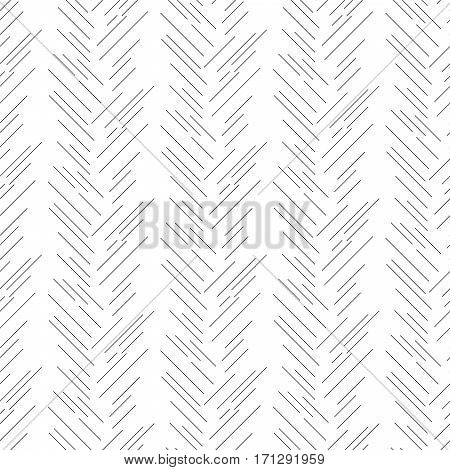 Herringbone grey strokes seamless vector pattern. Slender signs background texture for website substrate.