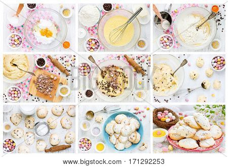 Easter cookies with crushed chocolate candy eggs chocolate drops and sprinkling sugar collage recipe step by step