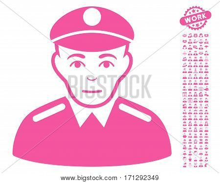 Soldier pictograph with bonus avatar design elements. Vector illustration style is flat iconic pink symbols on white background.