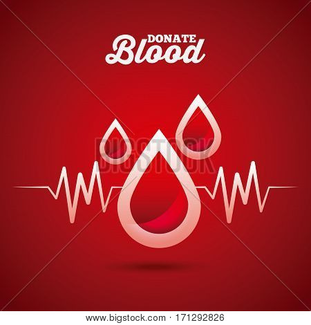 blood drops over red background. donate blood concept. colorful design. vector illustration