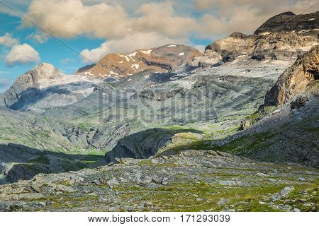 View of Ordesa valley and Monte Perdido massif Pyrenees Spain.