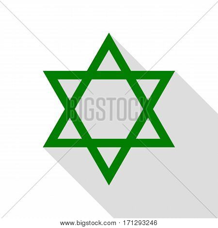 Shield Magen David Star. Symbol of Israel. Green icon with flat style shadow path.