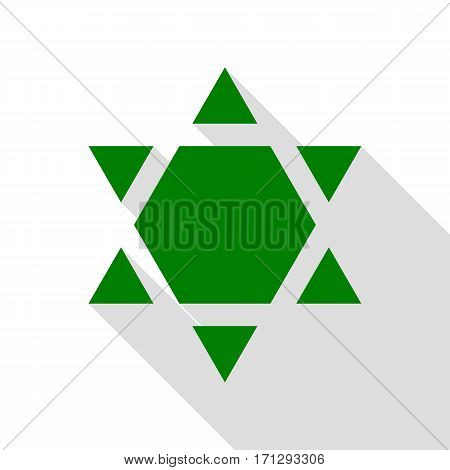 Shield Magen David Star Inverse. Symbol of Israel inverted. Green icon with flat style shadow path.