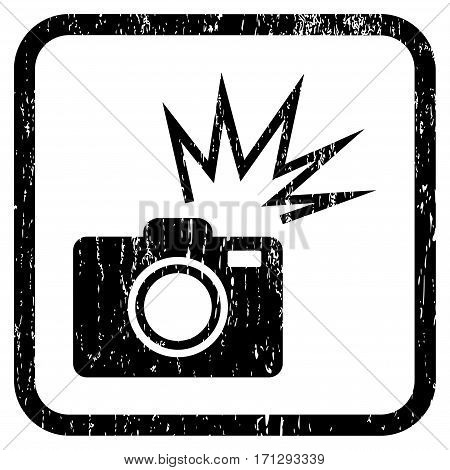 Camera Flash rubber watermark. Vector pictogram symbol inside rounded rectangular frame with grunge design and scratched texture. Stamp seal illustration.