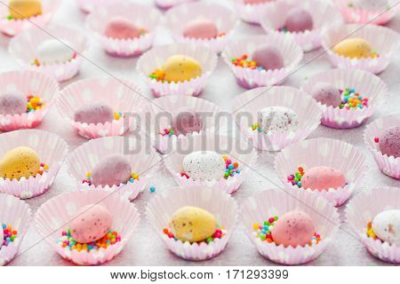 Coloured speckled candy Easter eggs Easter sweets and treats