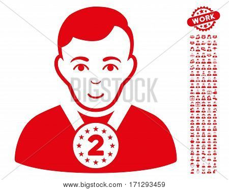 2nd Prizer Sportsman pictograph with bonus people icon set. Vector illustration style is flat iconic red symbols on white background.
