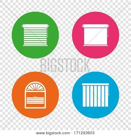 Louvers icons. Plisse, rolls, vertical and horizontal. Window blinds or jalousie symbols. Round buttons on transparent background. Vector