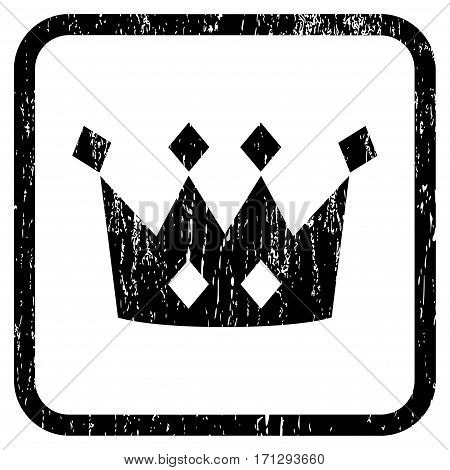 Crown rubber watermark. Vector icon symbol inside rounded rectangle with grunge design and dirty texture. Stamp seal illustration. Unclean black ink sign on a white background.