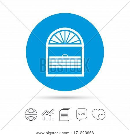 Louvers plisse sign icon. Window blinds or jalousie symbol. Copy files, chat speech bubble and chart web icons. Vector