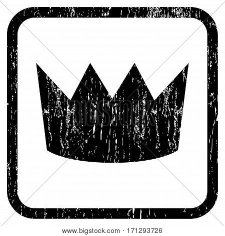 Crown rubber watermark. Vector icon symbol inside rounded rectangle with grunge design and dirty texture. Stamp seal illustration. Unclean black ink sticker on a white background.