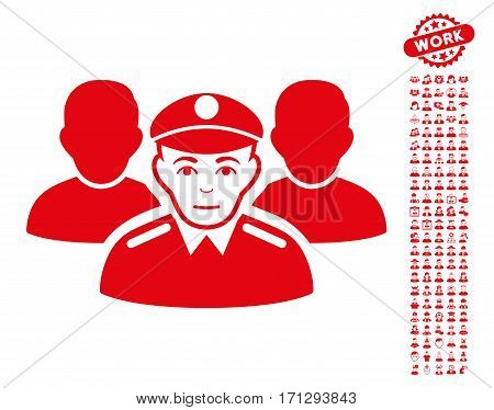 Army Team icon with bonus people pictograms. Vector illustration style is flat iconic red symbols on white background.