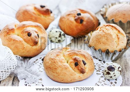 Easter bird bread Easter chick bun traditional Easter sweet bread in the shape of larks