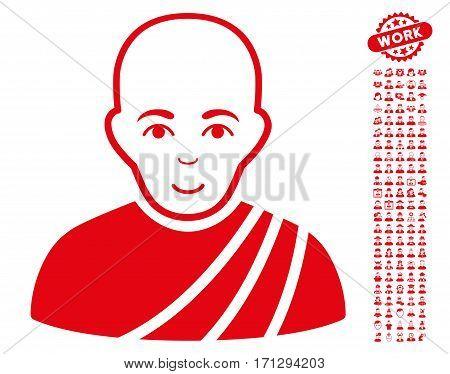 Buddhist Monk icon with bonus avatar symbols. Vector illustration style is flat iconic red symbols on white background.