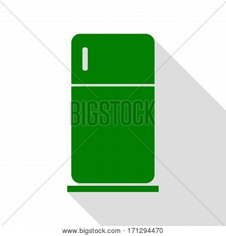 Refrigerator sign illustration. Green icon with flat style shadow path.