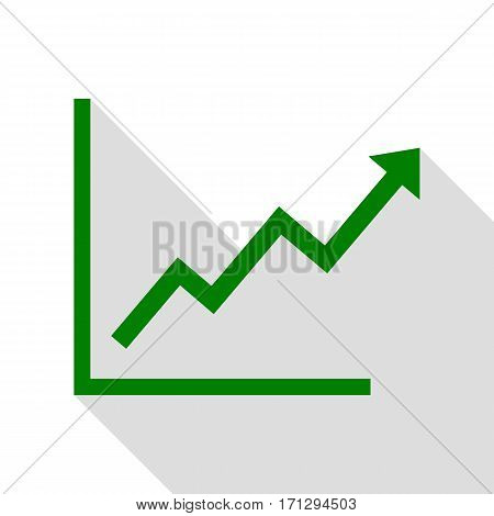 Growing bars graphic sign. Green icon with flat style shadow path.