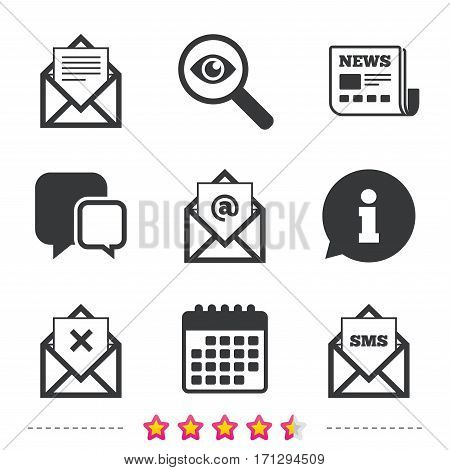 Mail envelope icons. Message document symbols. Post office letter signs. Delete mail and SMS message. Newspaper, information and calendar icons. Investigate magnifier, chat symbol. Vector