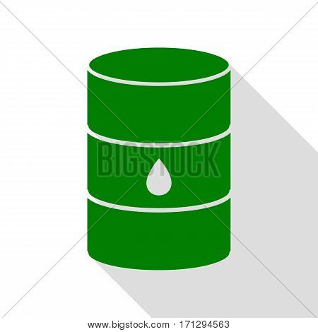 Oil barrel sign. Green icon with flat style shadow path.