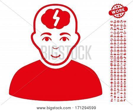Clever Boy pictograph with bonus human clip art. Vector illustration style is flat iconic red symbols on white background.