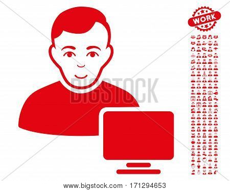 Computer Administrator icon with bonus avatar design elements. Vector illustration style is flat iconic red symbols on white background.