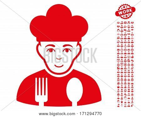 Cook pictograph with bonus occupation design elements. Vector illustration style is flat iconic red symbols on white background.