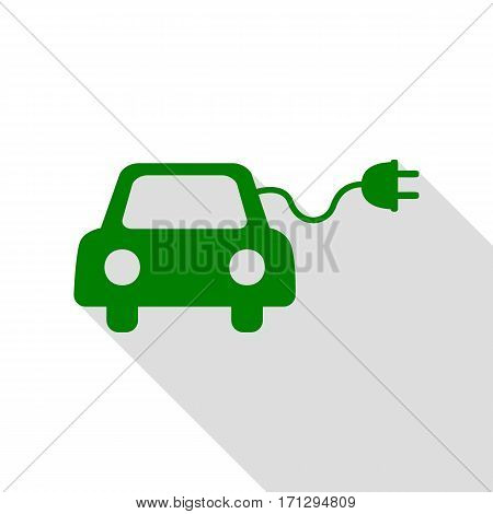 Eco electric car sign. Green icon with flat style shadow path.