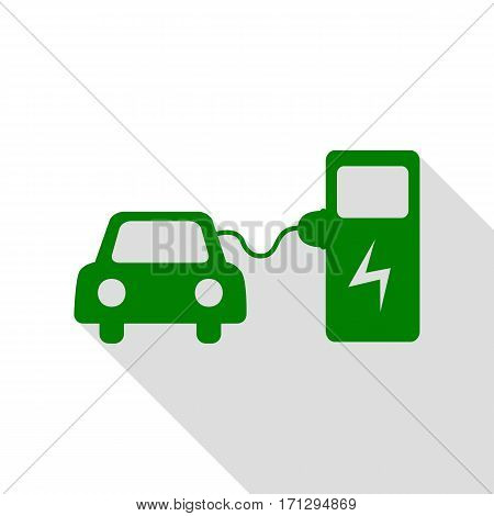 Electric car battery charging sign. Green icon with flat style shadow path.