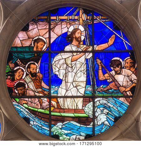 Jesus calms the Storm, a stained glass window in Gustafs church Copenhagen - February 11,  2014