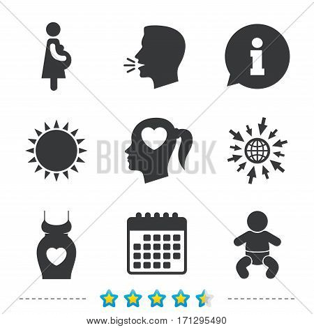Maternity icons. Baby infant, pregnancy and dress signs. Head with heart symbol. Information, go to web and calendar icons. Sun and loud speak symbol. Vector