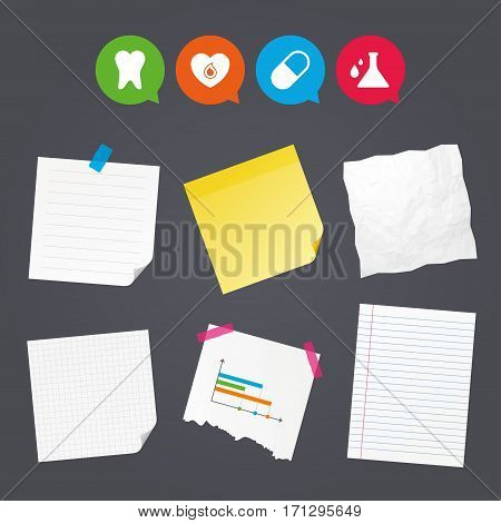 Business paper banners with notes. Maternity icons. Pill, tooth, chemistry and heart signs. Blood donation symbol. Lab bulb with drops. Dental care. Sticky colorful tape. Speech bubbles with icons