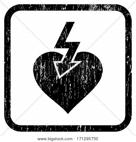 Heart Shock Strike rubber watermark. Vector icon symbol inside rounded rectangular frame with grunge design and scratched texture. Stamp seal illustration.