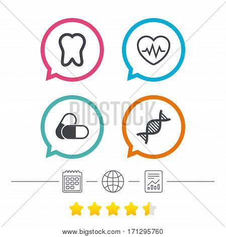 Maternity icons. Pills, tooth, DNA and heart cardiogram signs. Heartbeat symbol. Deoxyribonucleic acid. Dental care. Calendar, internet globe and report linear icons. Star vote ranking. Vector
