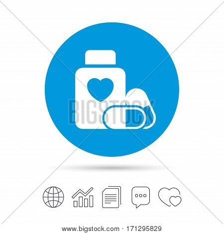 Medical heart pills bottle sign icon. Pharmacy medicine drugs symbol. Copy files, chat speech bubble and chart web icons. Vector
