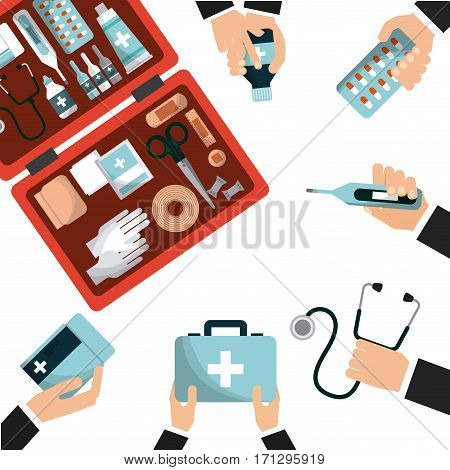 firts aid box with medicine equipment and hands over white background. colorful design. vector illustration