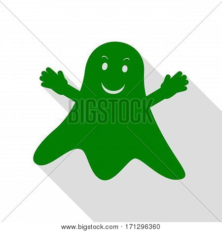 Ghost isolated sign. Green icon with flat style shadow path.
