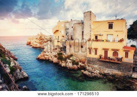 Scenic rocky coastline Cape Milazzo Sicily Italy