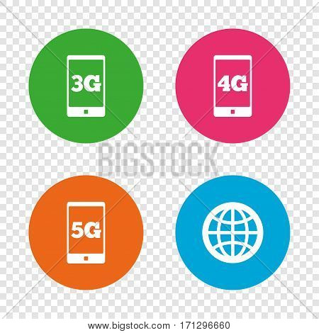 Mobile telecommunications icons. 3G, 4G and 5G technology symbols. World globe sign. Round buttons on transparent background. Vector