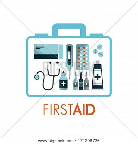 first aid box with medicine equipment over white background. colorful design. vector illustration