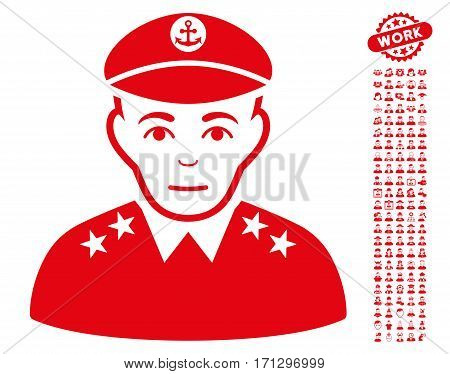 Military Captain pictograph with bonus occupation pictures. Vector illustration style is flat iconic red symbols on white background.