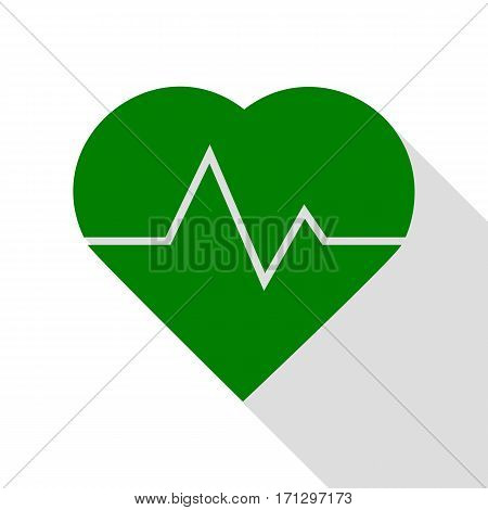 Heartbeat sign illustration. Green icon with flat style shadow path.