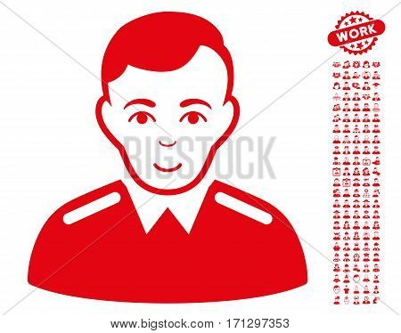 Officer pictograph with bonus people design elements. Vector illustration style is flat iconic red symbols on white background.