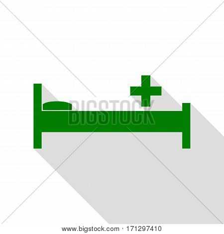 Hospital sign illustration. Green icon with flat style shadow path.