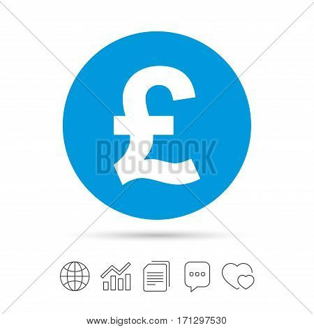 Pound sign icon. GBP currency symbol. Money label. Copy files, chat speech bubble and chart web icons. Vector