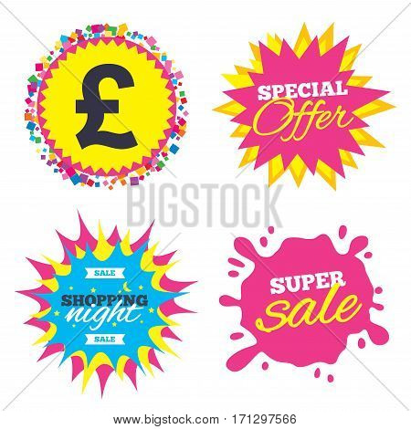 Sale splash banner, special offer star. Pound sign icon. GBP currency symbol. Money label. Shopping night star label. Vector