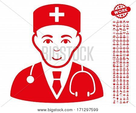 Physician pictograph with bonus occupation clip art. Vector illustration style is flat iconic red symbols on white background.