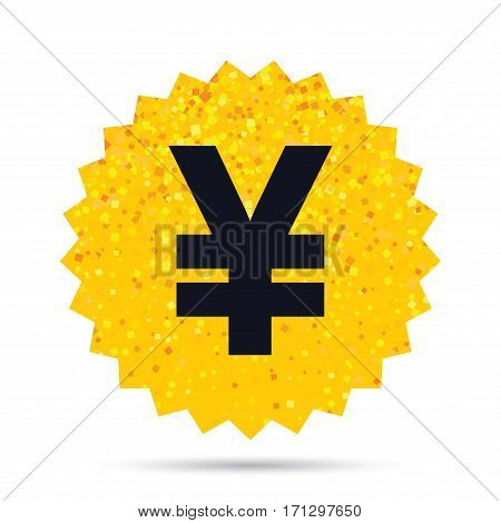 Gold glitter web button. Yen sign icon. JPY currency symbol. Money label. Rich glamour star design. Vector