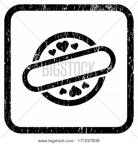 Love Stamp Seal rubber watermark. Vector pictogram symbol inside rounded rectangle with grunge design and dust texture. Stamp seal illustration. Unclean black ink sticker on a white background.