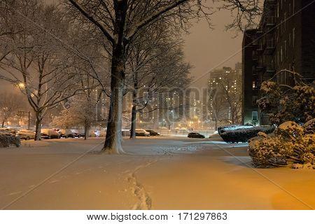 Brooklyn under snow at night New York