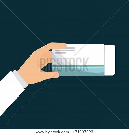 hand holding a pills box over blue background. first aid concept. colorful design. vector illustration
