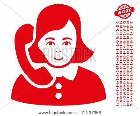 Receptionist pictograph with bonus people icon set. Vector illustration style is flat iconic red symbols on white background.