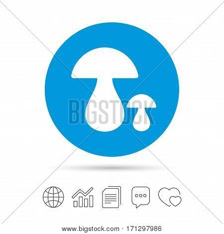Mushroom sign icon. Boletus mushroom symbol. Copy files, chat speech bubble and chart web icons. Vector